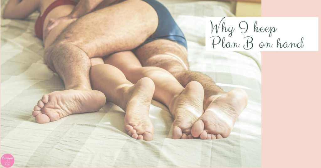 "Two people lay on a bed, belly down, with their limbs intertwined. A box on the upper right hand side says ""Why I keep plan B on hand."" 